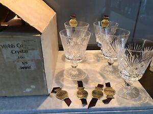 # Set of 5 Vintage Webb Corbett Cut Crystal JUNO Wine Glasses 11.5cm tall. Boxed