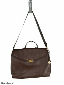 Brahmin Andrea Brown Nepal Pebbled Leather Briefcase Free Ship