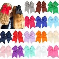 8'' Girl Cheerleading Bow Hair Bands Scrunchie Elastic Band Rope Ponytail Holder