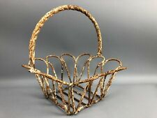 "Farmhouse Metal Basket Shabby Chic Chippy Rusty White Planter 12"" Tabletop Gift"