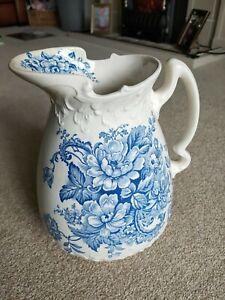 Large Off White/Blue Vintage Chic Jug/Vase