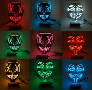 3 Modes LED Mask Neon Stitches Costume Halloween Purge Cosplay Light Up Wire
