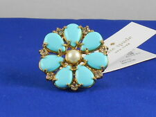 Kate Spade AZURE ALLURE Turquoise Glass Pearl Flower Cocktail Ring Size 6 $98