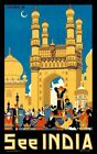 "Vintage Illustrated Travel Poster CANVAS PRINT See India Taj Mahal 2 8""X 10"""