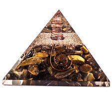 Tiger Eye Stone Orgone Pyramid Feng Shui Reiki Orgonite Healing Crystal