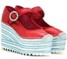 $398 Marc Jacobs Anjelica Mary Jane Platform Wedge Espadrille Sandals Sz 37 US 7