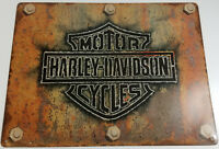 HARLEY DAVIDSON MOTORCYCLES RUST WITH BOLTS HEAVY DUTY METAL ADVERTISING SIGN