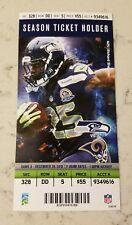 Seattle Seahawks St Louis Rams Football Ticket 12/29 2013 Richard Sherman Card