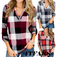 Women Plaid V Neck Long Sleeve TShirt Casual Loose Pullover Jumper Autumn Blouse