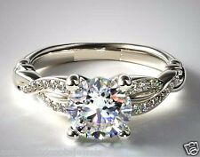 1.52ct Round Brilliant Solitaire Diamond Engagement Ring Solid 14k White Gold
