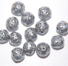 BIG Perline ~ 10 x Perline Rotonda Grande Decorativa ~ CCB ANTICATO SILVER PLATE ~ 11 mm