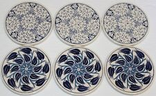 "Round Set of 6 Turkish Iznik Blue Floral Pattern 4"" Ceramic Coasters"