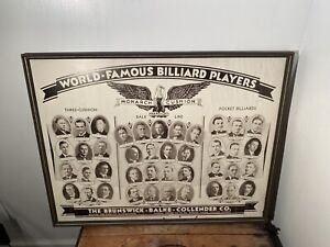 "Brunswick world famous billiard player framed posterboard Large 35"" X 27"""
