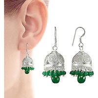 Beautiful Design !! 925 Sterling Silver Green Onyx Jhumki