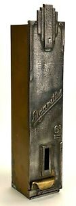 Vintage European Cigarette Coin Operated Vending Machine - 6D - Art Deco - Iron