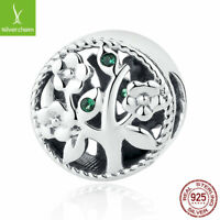 European Women Authentic 925 Sterling Silver Tree Charm Beads Pendant Fit Chain