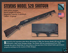 STEVENS MODEL 520 SHOTGUN 12 Gauge Slide-Action Gun Classic Firearms PHOTO CARD