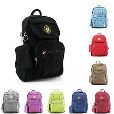 Ladies Plain Canvas Shoulder Backpack Rucksack School College Waterproof Bag