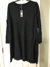 2X  $298 Eileen Fisher New CHARCOAL Jewel Neck Merino Jersey Asymettrical Dress