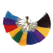 10pcs Handmade Silky Tassels Trim Keychain Pendants for DIY Jewelry Crafts