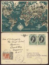 DOMINICA SCANDINAVIAN AIRLINES MAP PPC 1953 GRAND BAY..KG6 + CORONATION FRANKING