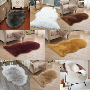 Fluffy Rugs Plain Sheepskin Super Soft Faux Fur Home Decor Living Room Mats TN
