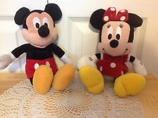 """Disney's Set Of Mickey and Minnie Mouse Plush Stuffed Bean Bags 9"""" tall"""