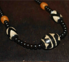 "Tibetan dzi bead talisman real necklace amulet ""tiger-tooth"" antique gzi genuine"