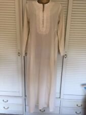 Handmade Vintage Kaftan from Egypt in Cream Cotton w Stripes & Applique Sz 16
