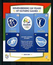 Ghana 2016 estampillada sin montar o nunca montada Juegos Olímpicos 120 años Rio Juegos Olímpicos de verano 4v M/S II Sellos de golf