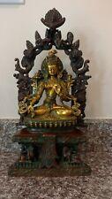 Goddess White Tara Seated On Six Ornament Brass Sculpture Statue New
