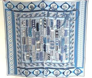 Hermes Colliers et Chiens Silk Twill Scarf 90cm Carre Wash Dogs