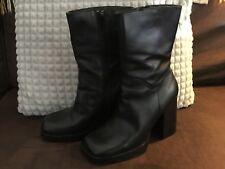 Vtg 90s Candie's Black Leather Chunky Heel Platform Club Gogo Mid-Calf Boots 7.5
