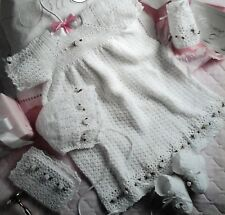 CROCHET PATTERN Christening gown dress babies  bootees bonnet 1255