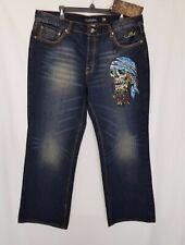 NEW Ed Hardy / Christian Audigier  Men Dark Wash Embroidered Pirate Skull  Jeans