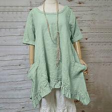 Women Solid Short Sleeve Pocket Ruffled Shirt Linen Easy Tops Loose Blouse NA