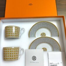 HERMES Porcelain Tea Cup Saucer Mosaique Van Cattle Gold Tableware Ornament New