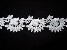 "Venise Lace Floral Design - 10 yds for $12.99 - 1 3/4"" Wide - White Rayon"
