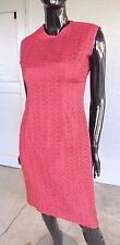 Vintage 60's Dress Women's Sleeveless Ribbon Christmas Holidays Deep Red 8 10 12