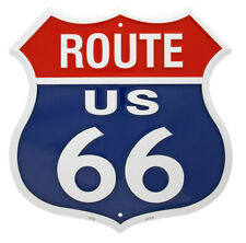 "Route 66 Red White & Blue 11.5"" x 11.5"" Tin Sign MS292"