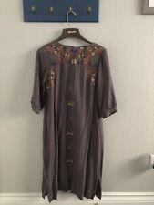 Orange Creek Womens Peasant Boho Embroidered Gray  Dress S Rayon