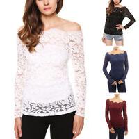 Women Off Shoulder Slash Neck Long Sleeve Lace Solid Tops T Shirt Casual Blou hw