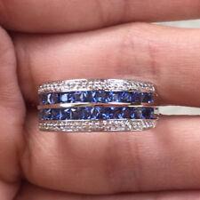 10k White Gold Princess Blue Sapphire Multi Row Anniversary Ring Wedding Band