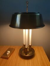 """Antiqued Brass Bouillotte 3 Candlestick Table Lamp Metal Shade 2 Bulbs 22"""""""