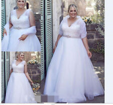 Crystal/Diamante Satin A-line Plus Size Wedding Dresses
