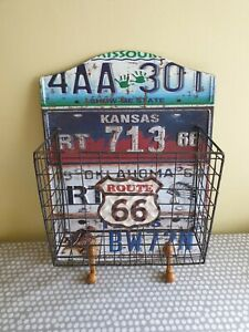 """Route 66"" Number Plate Design Hanging Letter Rack/Key Hooks. New"