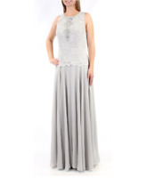 Alex Evenings Silver Lace Chiffon 2 Piece Mother Bride Groom Formal Gown Dress