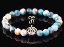 Jade Blue Colourful 8mm Bracelet Pearl Bracelet Silver Coated Crown
