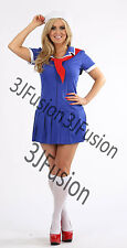 Ladies Sailor Girl Fancy Dress Costume Nautical Outfit Hen Party FREE POST (AK)