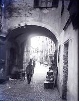 Petite Rue dans un Village France ou Italie , Photo Stereo Plaque Verre NEGATIV